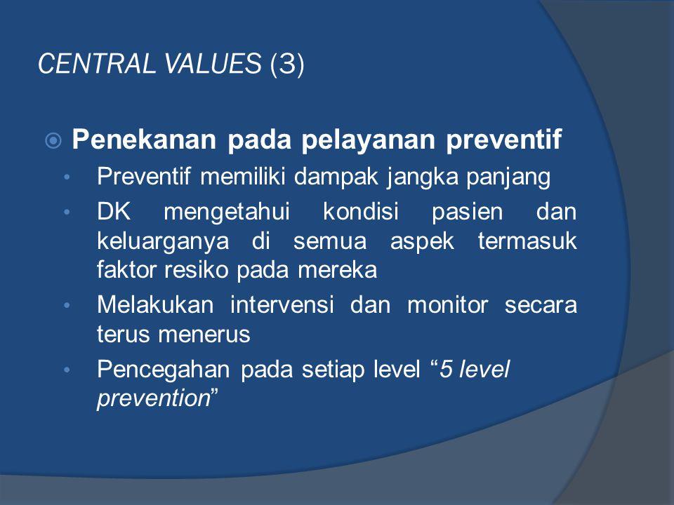 CENTRAL VALUES (3) Penekanan pada pelayanan preventif