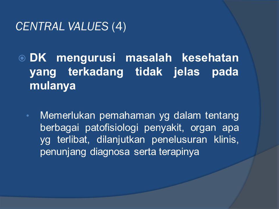 CENTRAL VALUES (4) DK mengurusi masalah kesehatan yang terkadang tidak jelas pada mulanya.