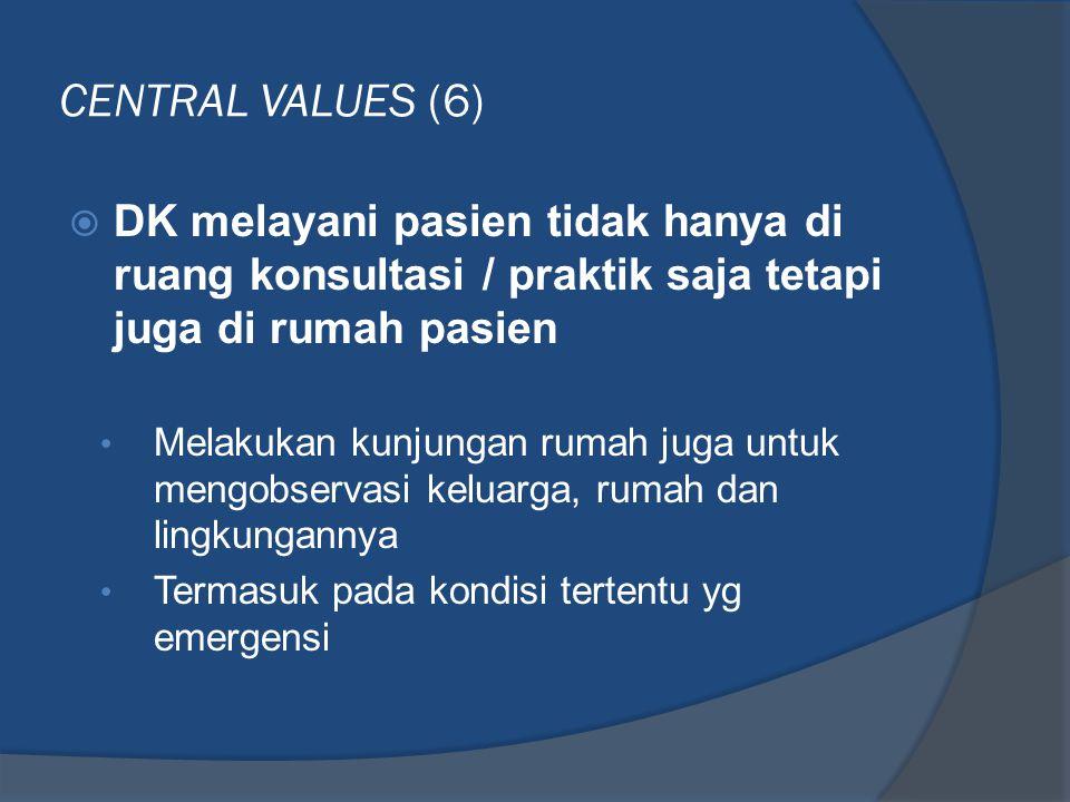 CENTRAL VALUES (6) DK melayani pasien tidak hanya di ruang konsultasi / praktik saja tetapi juga di rumah pasien.
