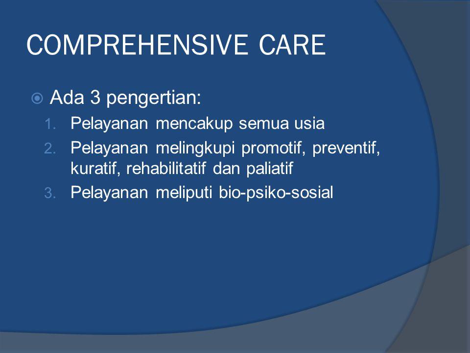 COMPREHENSIVE CARE Ada 3 pengertian: Pelayanan mencakup semua usia