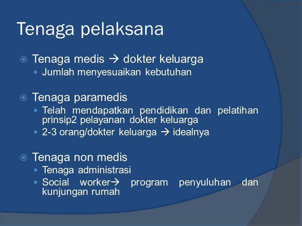 Tenaga pelaksana Tenaga medis  dokter keluarga Tenaga paramedis