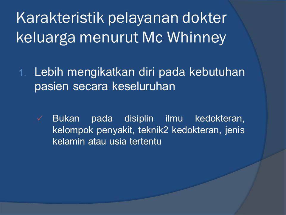 Karakteristik pelayanan dokter keluarga menurut Mc Whinney