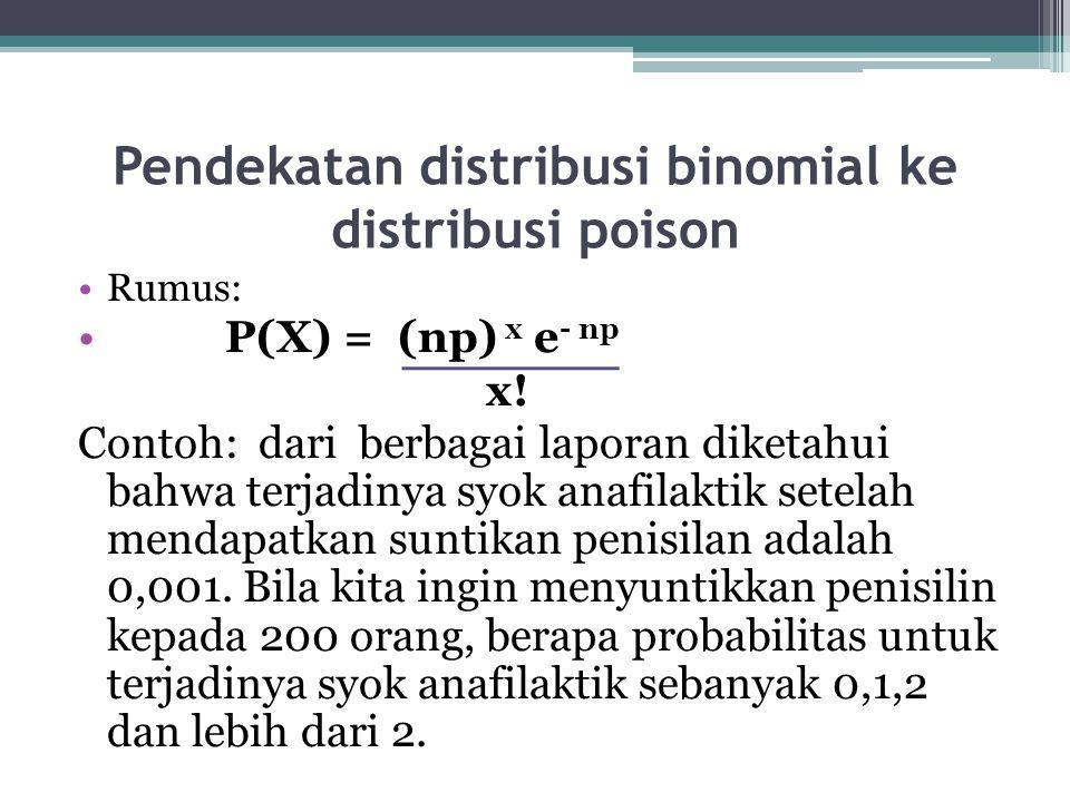Pendekatan distribusi binomial ke distribusi poison