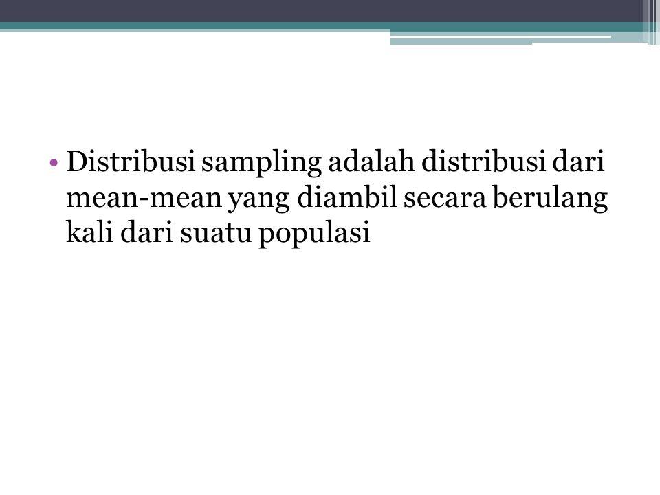 Distribusi sampling adalah distribusi dari mean-mean yang diambil secara berulang kali dari suatu populasi