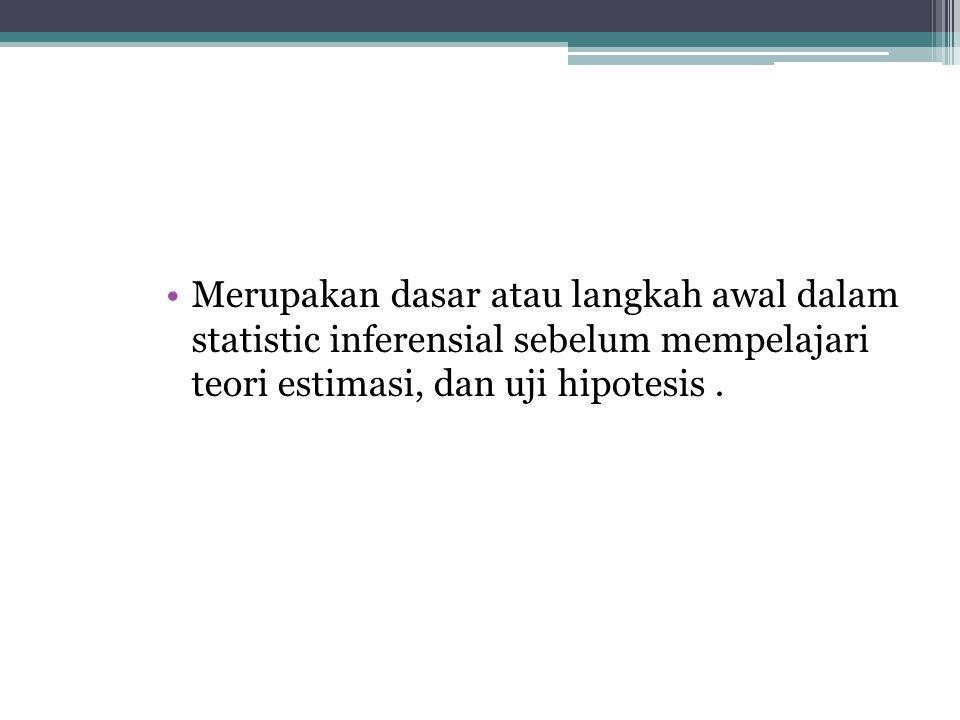 Merupakan dasar atau langkah awal dalam statistic inferensial sebelum mempelajari teori estimasi, dan uji hipotesis .