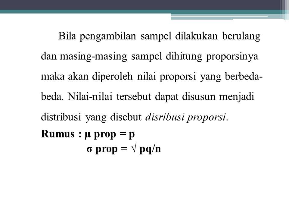 Bila pengambilan sampel dilakukan berulang dan masing-masing sampel dihitung proporsinya maka akan diperoleh nilai proporsi yang berbeda- beda.