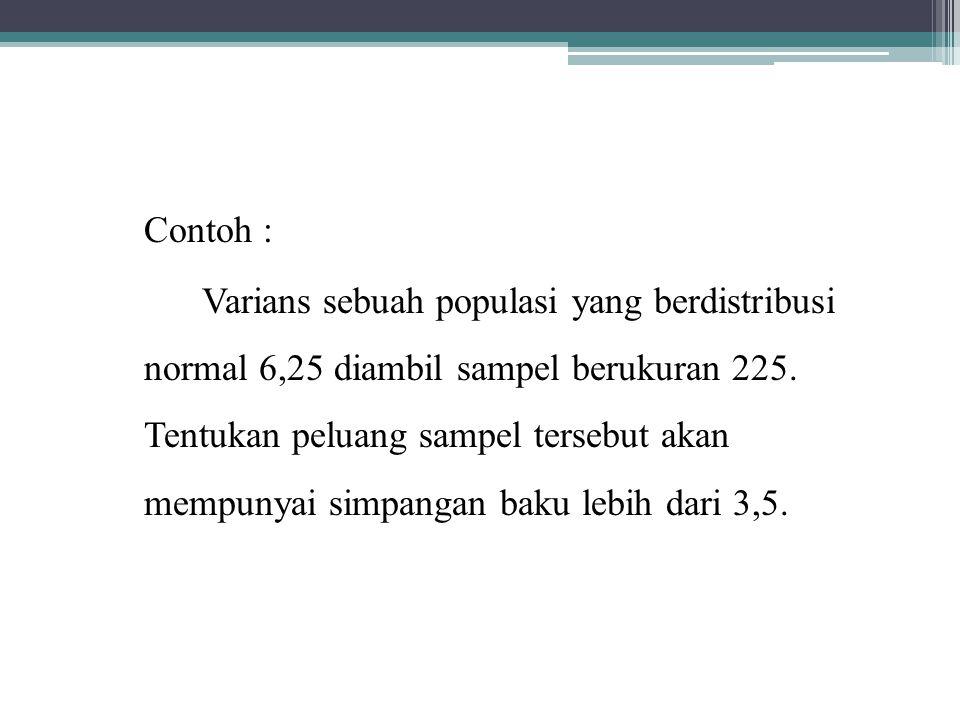 Contoh : Varians sebuah populasi yang berdistribusi normal 6,25 diambil sampel berukuran 225.