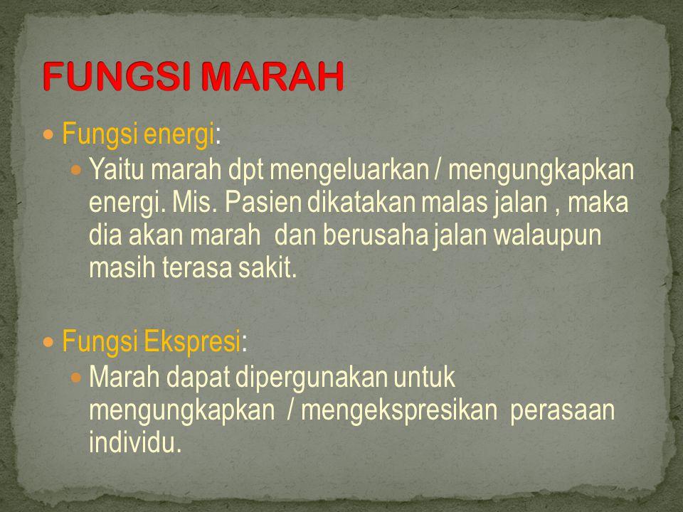 FUNGSI MARAH Fungsi energi: