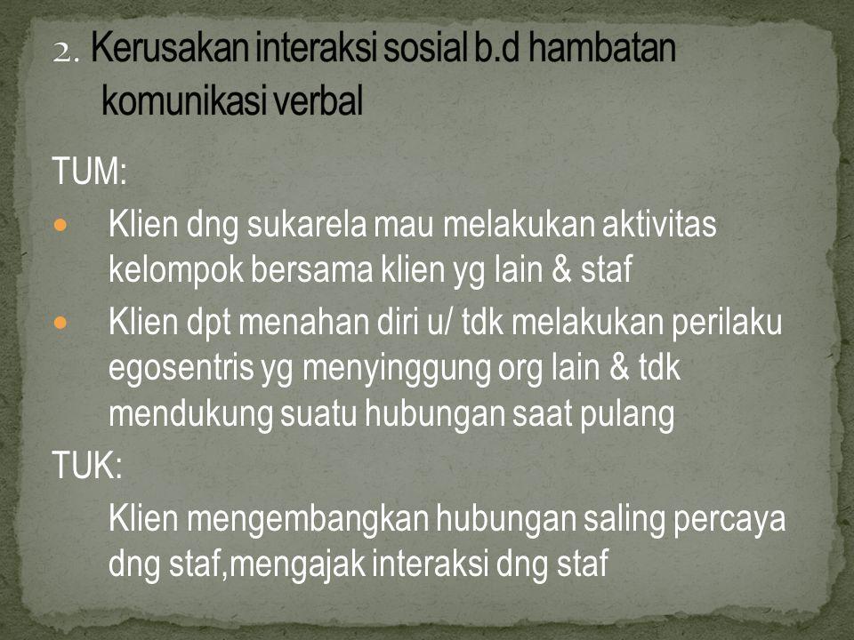 2. Kerusakan interaksi sosial b.d hambatan komunikasi verbal