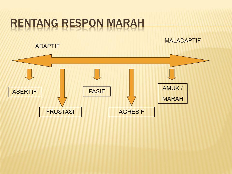 RENTANG RESPON MARAH MALADAPTIF ADAPTIF AMUK / MARAH ASERTIF PASIF