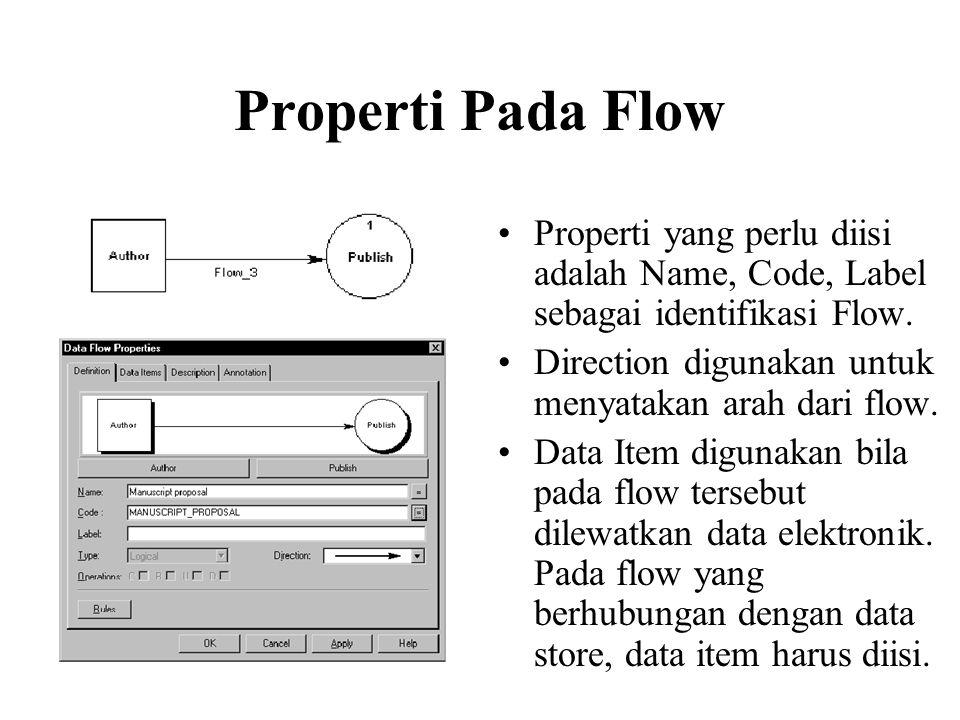 Properti Pada Flow Properti yang perlu diisi adalah Name, Code, Label sebagai identifikasi Flow.