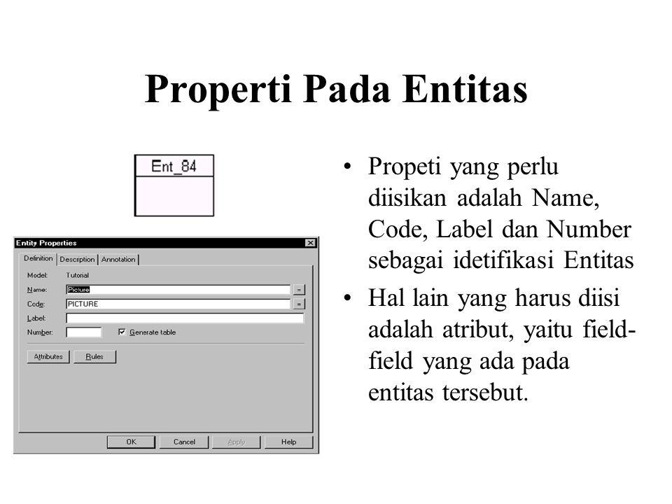 Properti Pada Entitas Propeti yang perlu diisikan adalah Name, Code, Label dan Number sebagai idetifikasi Entitas.