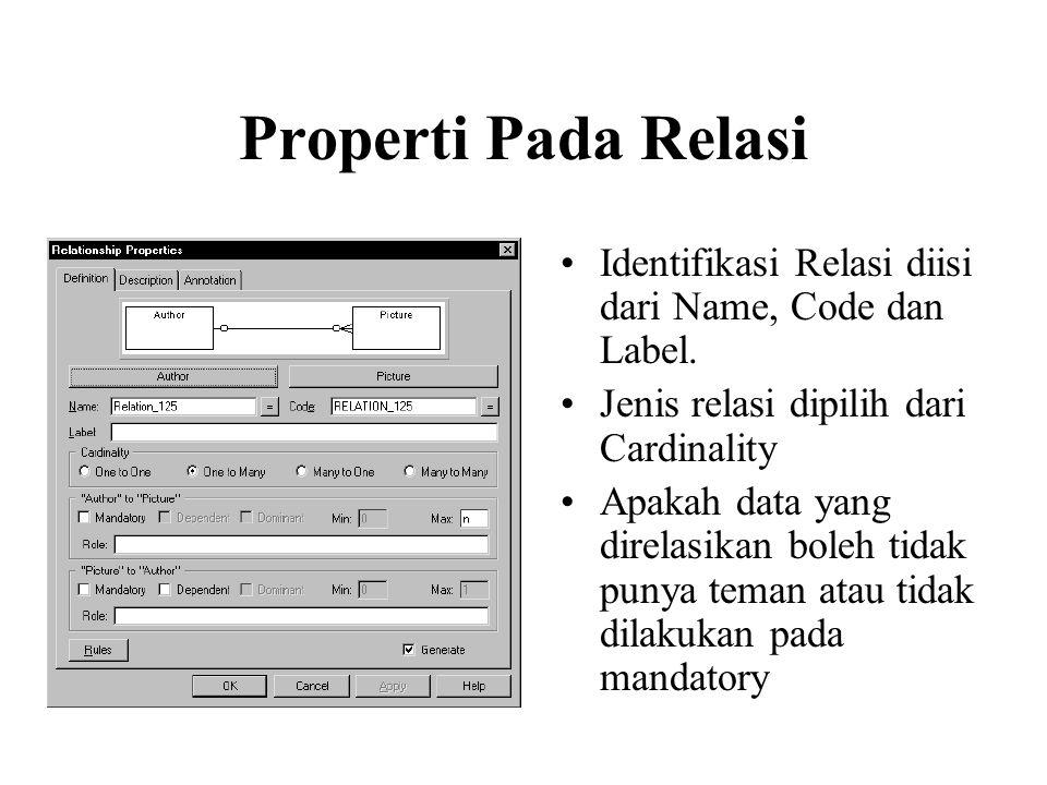 Properti Pada Relasi Identifikasi Relasi diisi dari Name, Code dan Label. Jenis relasi dipilih dari Cardinality.