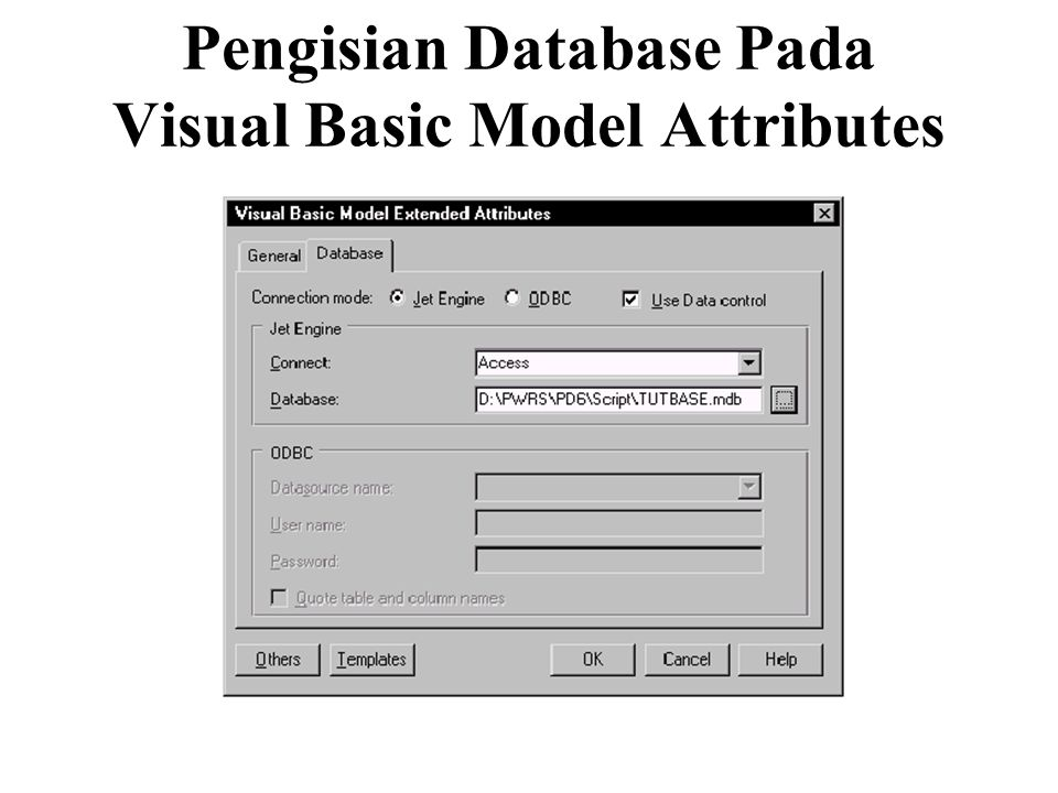 Pengisian Database Pada Visual Basic Model Attributes