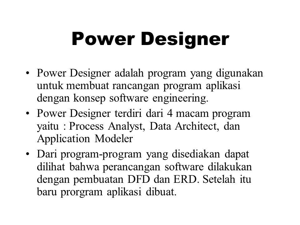 Power Designer Power Designer adalah program yang digunakan untuk membuat rancangan program aplikasi dengan konsep software engineering.