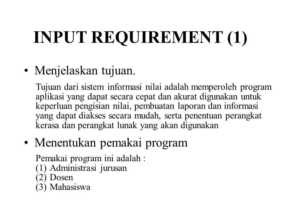 INPUT REQUIREMENT (1) Menjelaskan tujuan. Menentukan pemakai program
