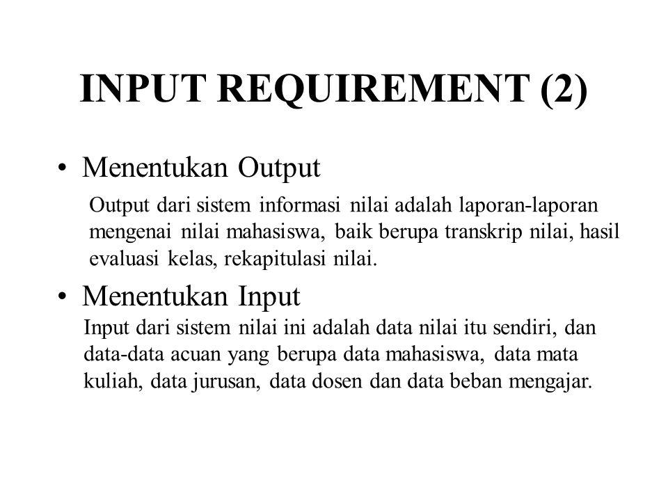INPUT REQUIREMENT (2) Menentukan Output Menentukan Input