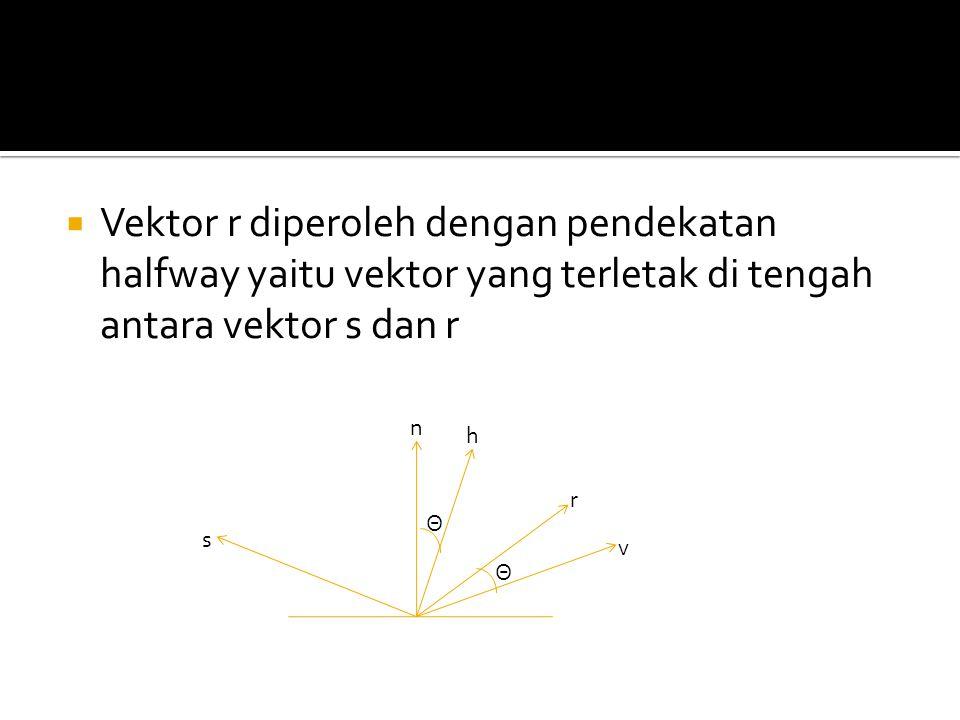 Vektor r diperoleh dengan pendekatan halfway yaitu vektor yang terletak di tengah antara vektor s dan r