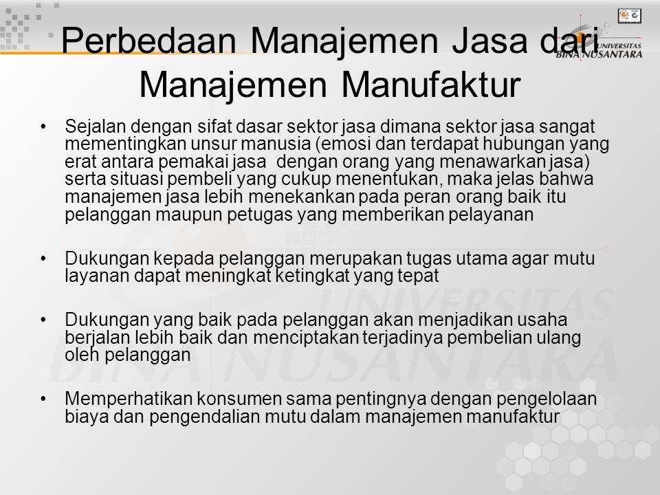 Perbedaan Manajemen Jasa dari Manajemen Manufaktur