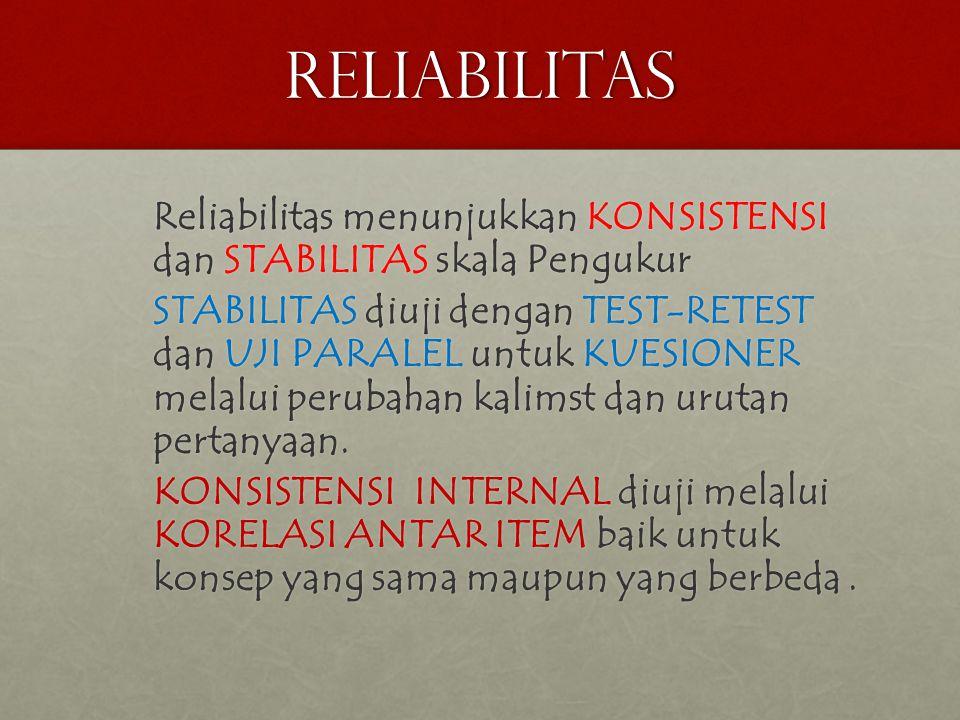 RELIABILITAS Reliabilitas menunjukkan KONSISTENSI dan STABILITAS skala Pengukur.
