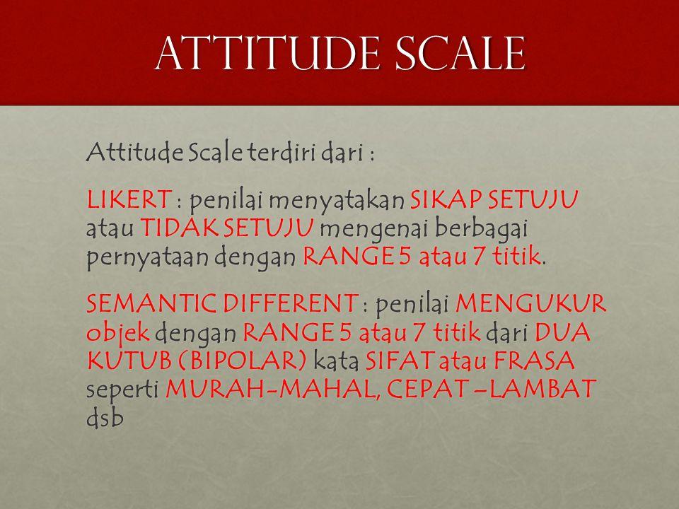 ATTITUDE SCALE Attitude Scale terdiri dari :