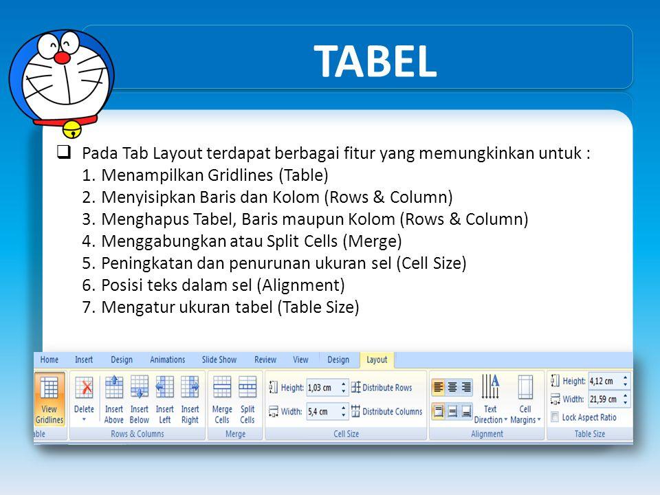 TABEL Pada Tab Layout terdapat berbagai fitur yang memungkinkan untuk : Menampilkan Gridlines (Table)