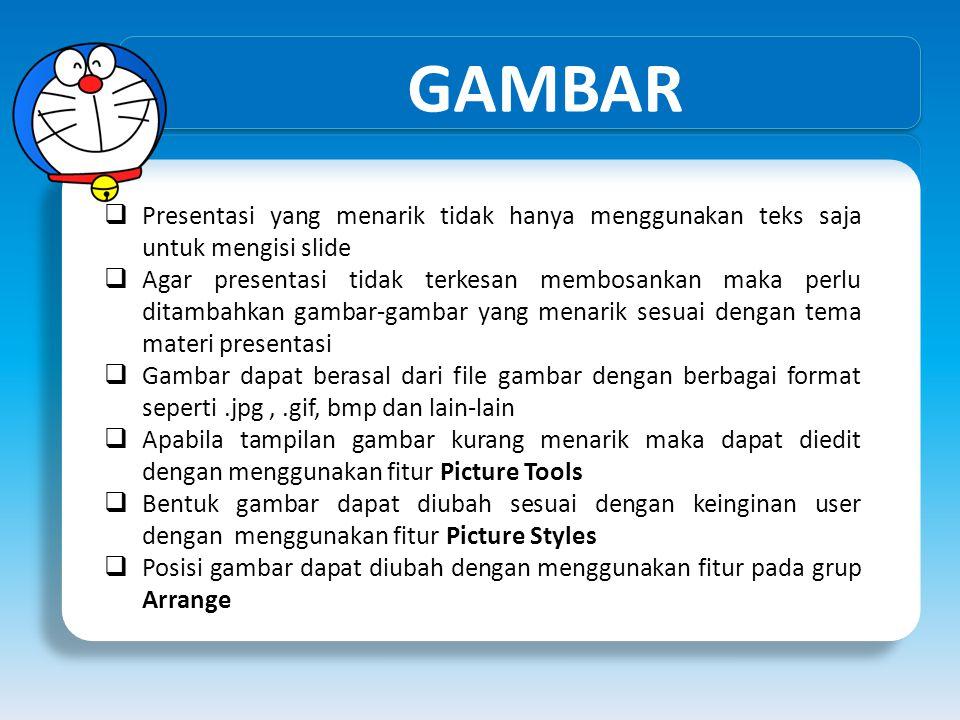 GAMBAR Presentasi yang menarik tidak hanya menggunakan teks saja untuk mengisi slide.