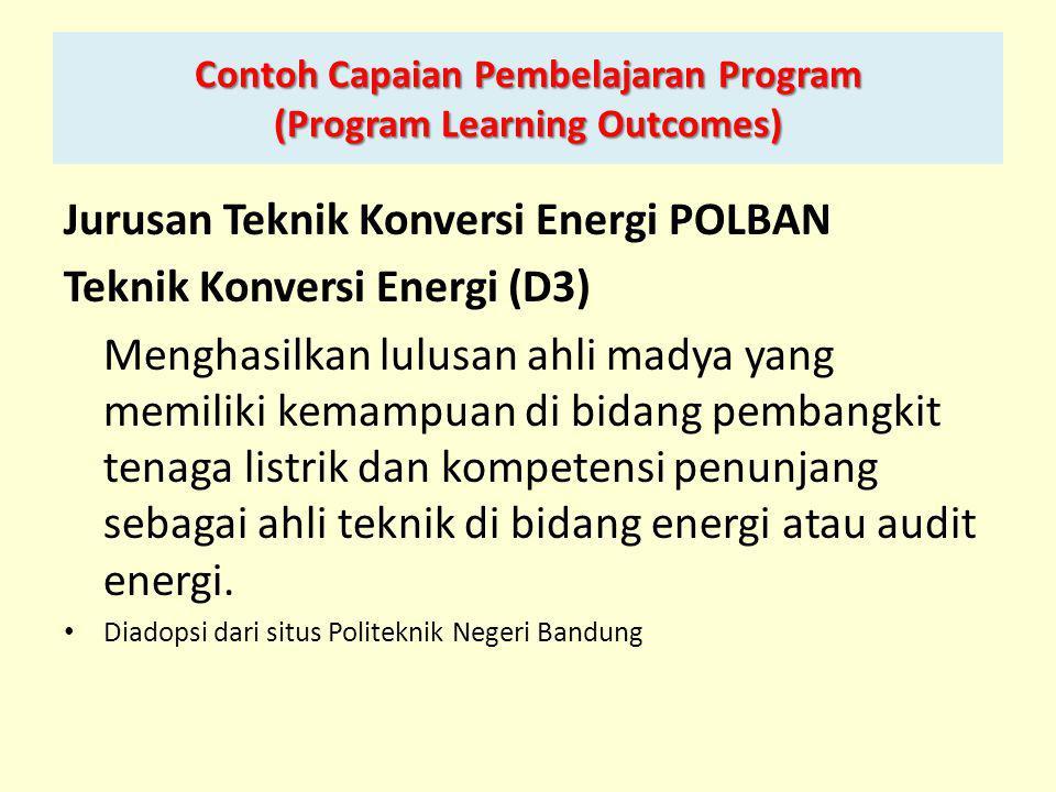 Contoh Capaian Pembelajaran Program (Program Learning Outcomes)