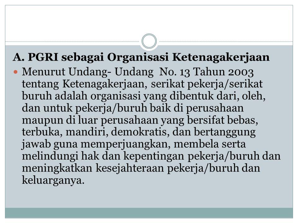 A. PGRI sebagai Organisasi Ketenagakerjaan