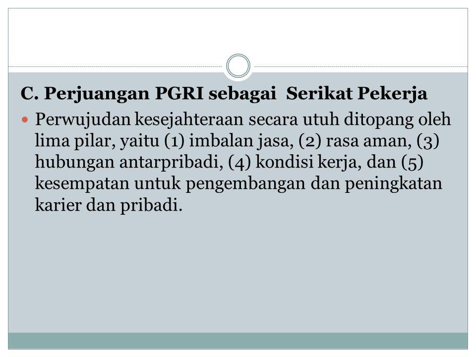 C. Perjuangan PGRI sebagai Serikat Pekerja
