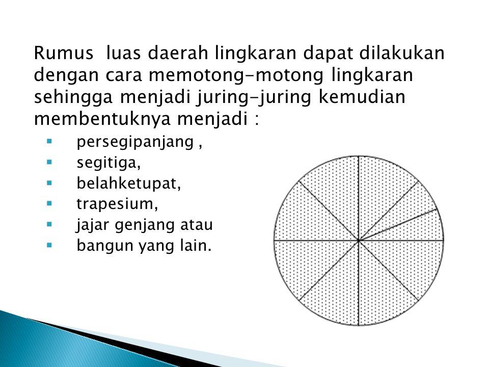 Rumus luas daerah lingkaran dapat dilakukan dengan cara memotong-motong lingkaran sehingga menjadi juring-juring kemudian membentuknya menjadi :