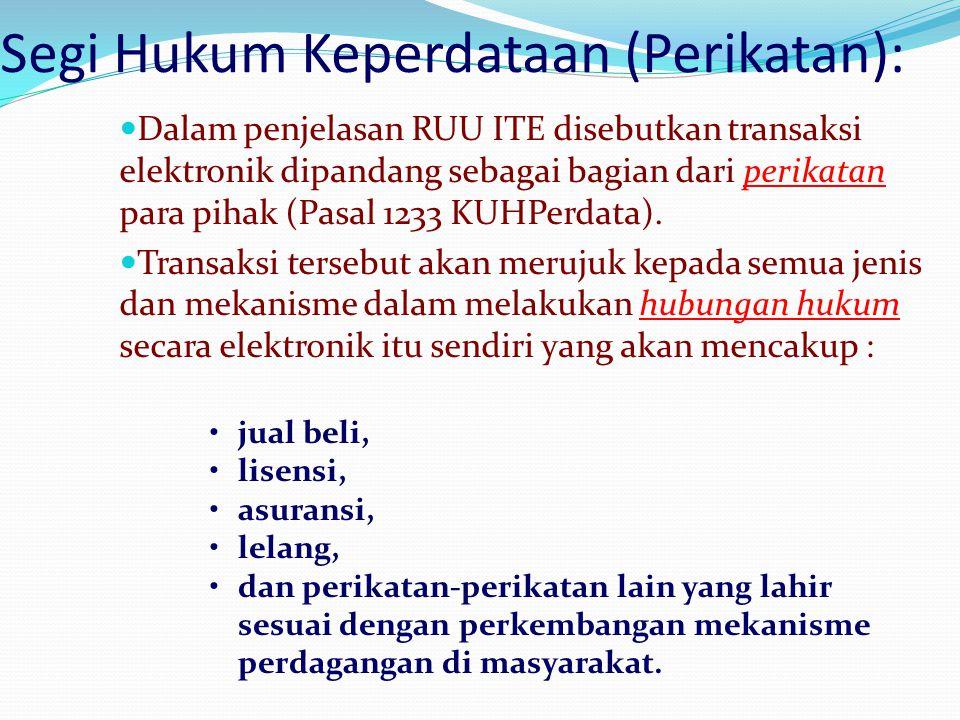 Segi Hukum Keperdataan (Perikatan):