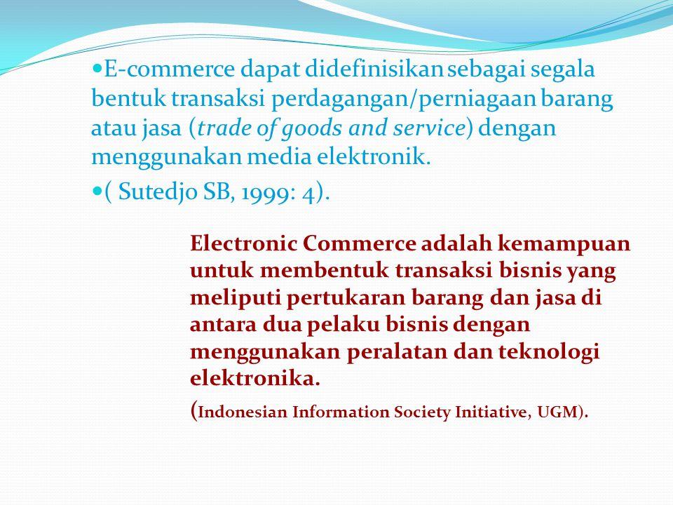 E-commerce dapat didefinisikan sebagai segala bentuk transaksi perdagangan/perniagaan barang atau jasa (trade of goods and service) dengan menggunakan media elektronik.