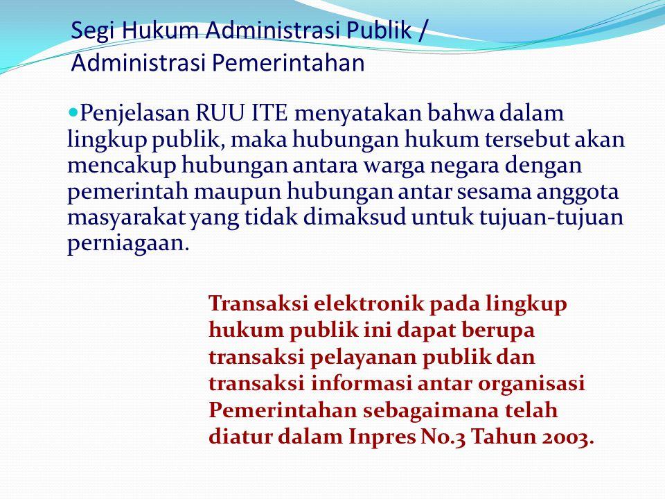 Segi Hukum Administrasi Publik / Administrasi Pemerintahan