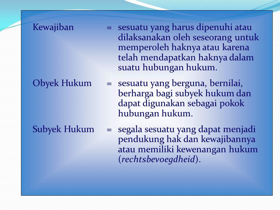 Kewajiban = sesuatu yang harus dipenuhi atau dilaksanakan oleh seseorang untuk memperoleh haknya atau karena telah mendapatkan haknya dalam suatu hubungan hukum.