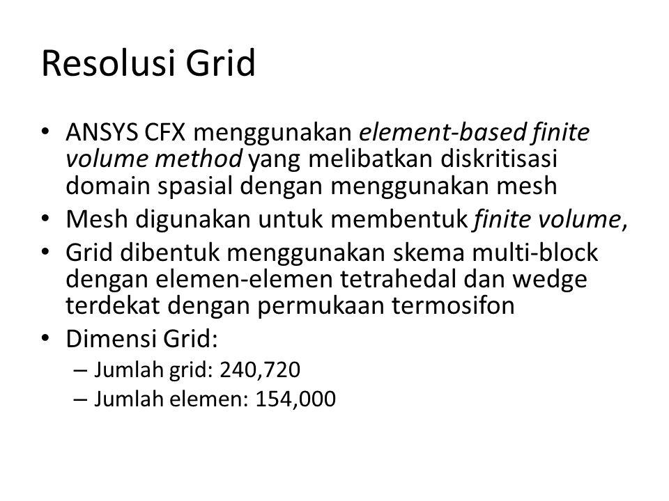 Resolusi Grid ANSYS CFX menggunakan element-based finite volume method yang melibatkan diskritisasi domain spasial dengan menggunakan mesh.