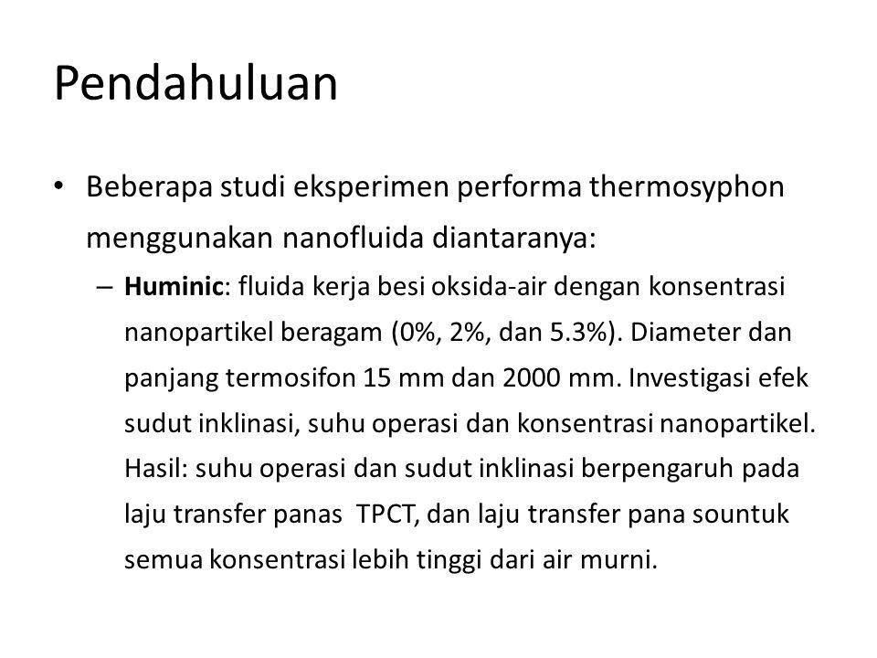 Pendahuluan Beberapa studi eksperimen performa thermosyphon menggunakan nanofluida diantaranya: