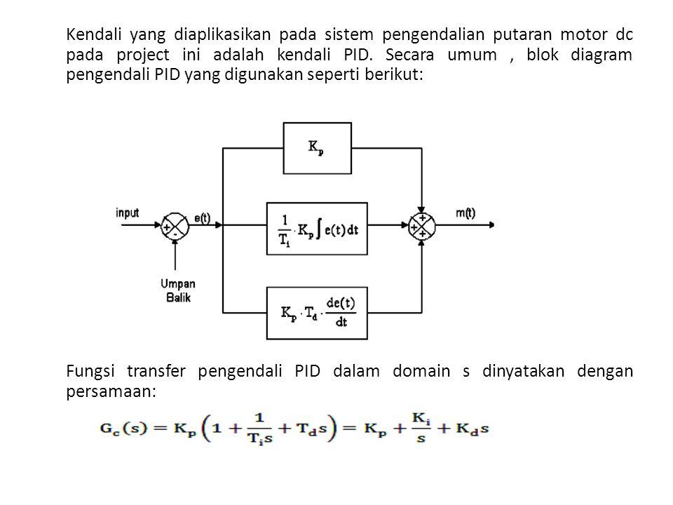 Kendali yang diaplikasikan pada sistem pengendalian putaran motor dc pada project ini adalah kendali PID. Secara umum , blok diagram pengendali PID yang digunakan seperti berikut: