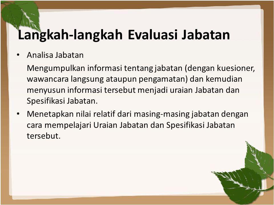 Langkah-langkah Evaluasi Jabatan