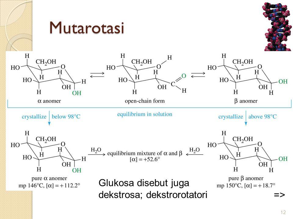 Mutarotasi => Glukosa disebut juga dekstrosa; dekstrorotatori