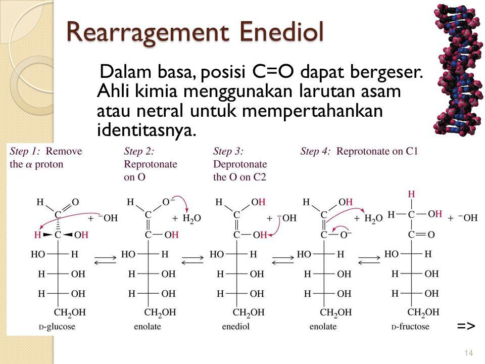 Rearragement Enediol Dalam basa, posisi C=O dapat bergeser. Ahli kimia menggunakan larutan asam atau netral untuk mempertahankan identitasnya.
