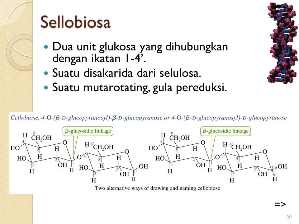 Sellobiosa Dua unit glukosa yang dihubungkan dengan ikatan 1-4'.