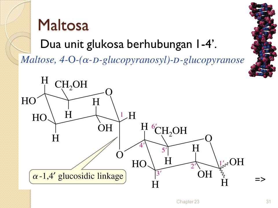 Maltosa Dua unit glukosa berhubungan 1-4'. => Chapter 23