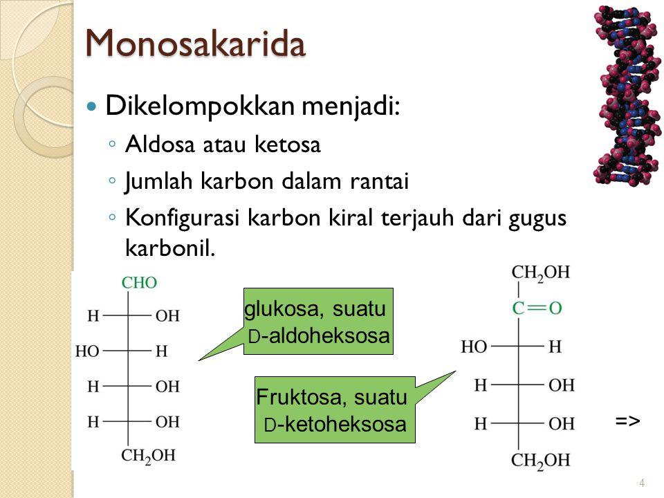 Monosakarida Dikelompokkan menjadi: Aldosa atau ketosa