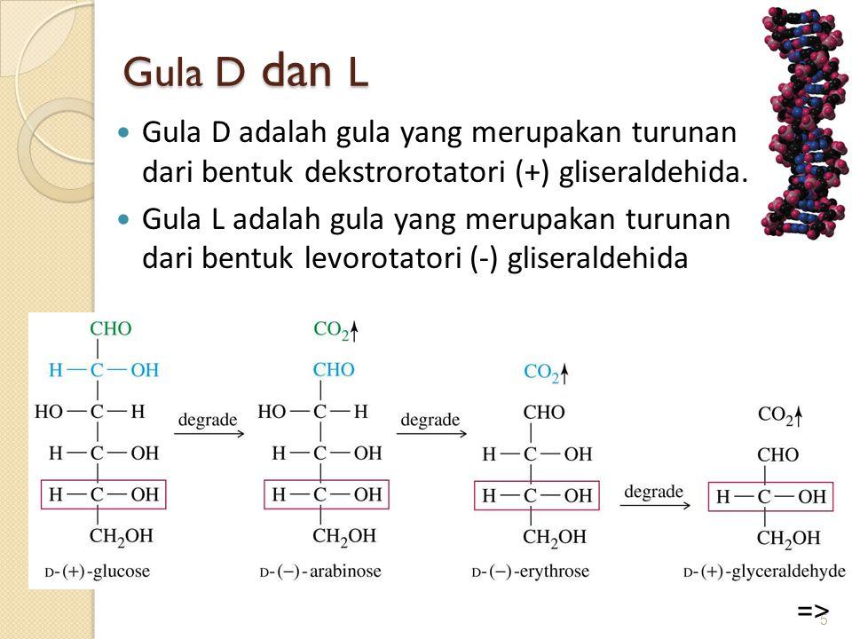 Gula D dan L Gula D adalah gula yang merupakan turunan dari bentuk dekstrorotatori (+) gliseraldehida.