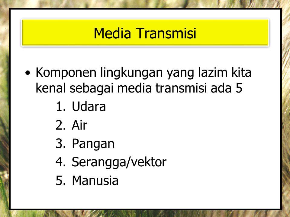 Media Transmisi Komponen lingkungan yang lazim kita kenal sebagai media transmisi ada 5. Udara. Air.