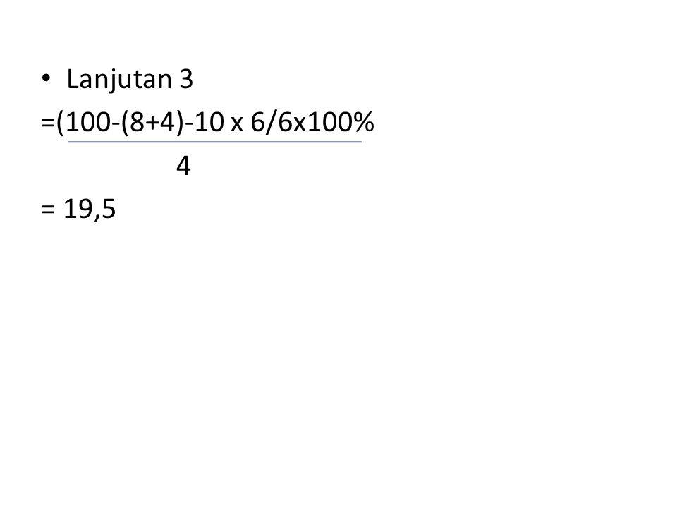 Lanjutan 3 =(100-(8+4)-10 x 6/6x100% 4 = 19,5