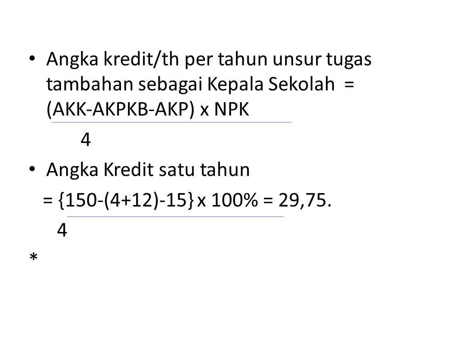 Angka kredit/th per tahun unsur tugas tambahan sebagai Kepala Sekolah = (AKK‐AKPKB‐AKP) x NPK