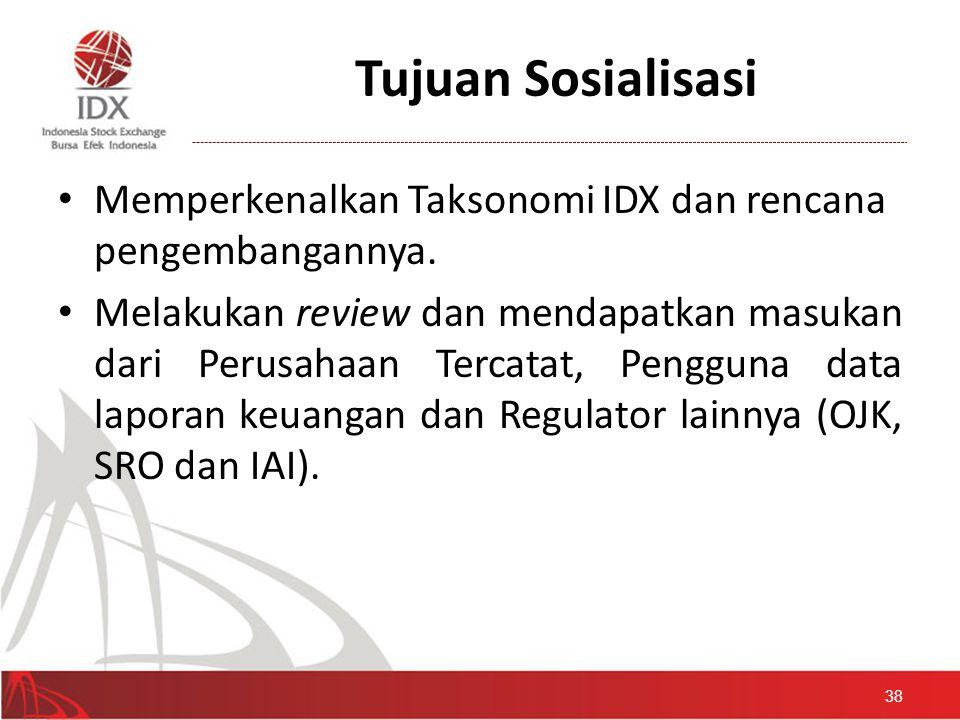 Tujuan Sosialisasi Memperkenalkan Taksonomi IDX dan rencana pengembangannya.