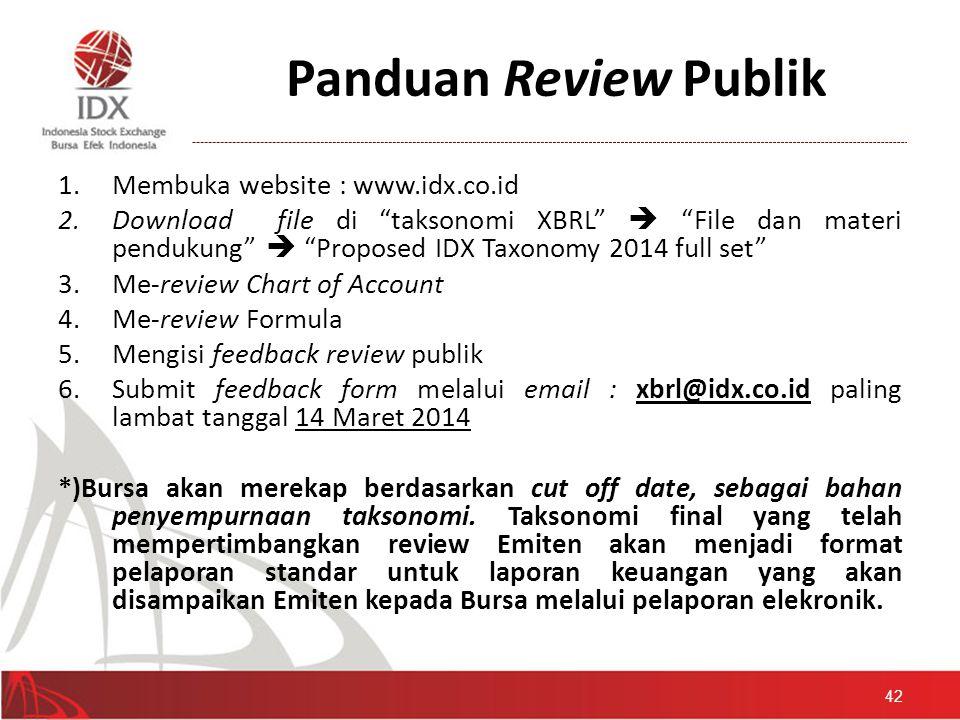Panduan Review Publik Membuka website : www.idx.co.id
